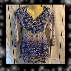 M-Collection Large Top Blue Purple Embellished ZZ5